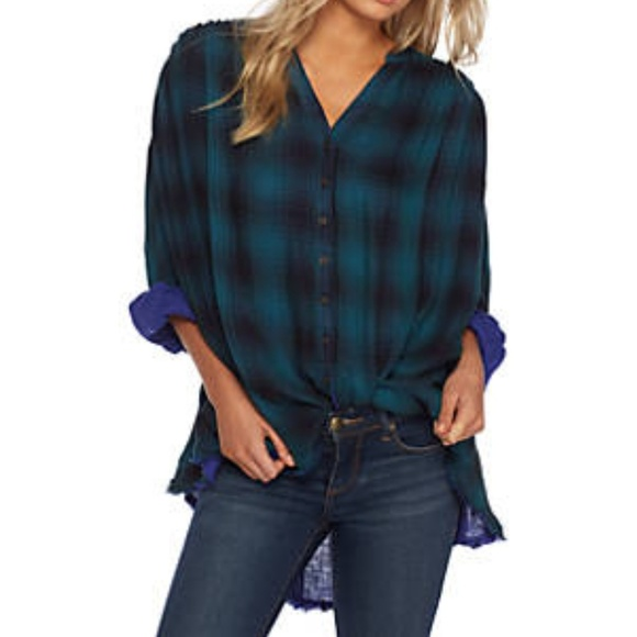 Free People Tops - Free People Come On Over Plaid Buttondown Top